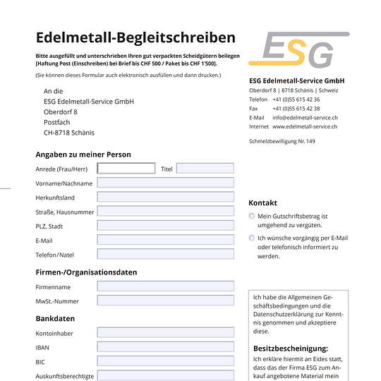 Edelmetall-Begleitschreiben für den sicheren Versand per Post