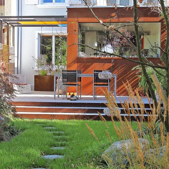 Sichtschutz Treppe Gartengestaltung - Salathé Rentzel Gartenkultur AG, Bahnhofstrasse 4, CH-4104 Oberwil