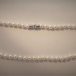 Süsswasser-Perlenkette mit Schliesse in Weissgold 750