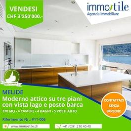 Vendesi a Melide moderno attico su tre piani con vista lago e posto barca