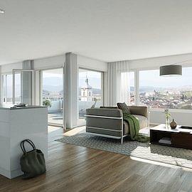 Felsrain Nord - 2. Bauetappe; Grosszügige Wohnungen mit Blick auf Alpen und Zürichsee.
