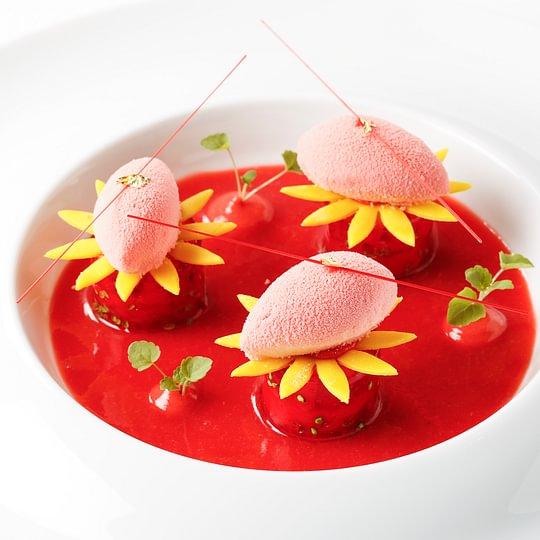 Fraîcheur de fraise et moelleux pistache