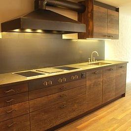 Küche Räuchereiche massiv, weiss geölt