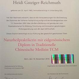 Naturheilpraktikerin mit eidg. Diplom in Traditionelle chinesische Medizin TCM