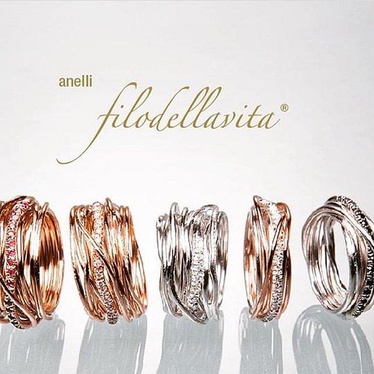 """Anelli """"FILODELLAVITA"""" in argento e oro rosa"""