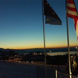 traumhafter Sonnenuntergang auf der Terrasse