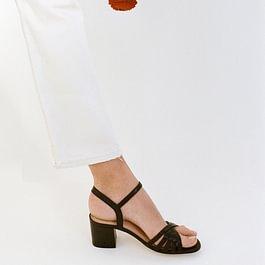 sandalettes à talon Craie