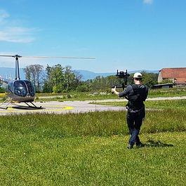 Travail en steadicam à l'aéroport de la Blercherette, Lausanne