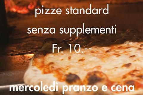 Tutti i venerdì sera tutte le pizze standard senza supplementi a Fr. 10.--
