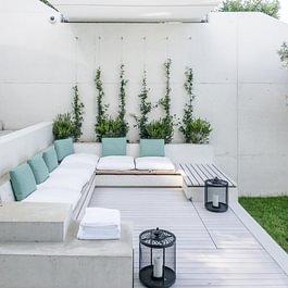 Terrazza e panca in teak olio bianco Losa outdoor