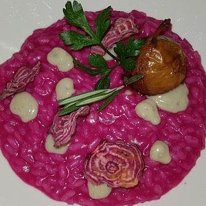 Risotto aux betteraves,gorgonzola et poire Botzi