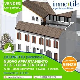 Vendesi a Ligornetto Mendrisio nuovo appartamento di 2.5 locali con giardino