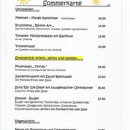 Sommerkarte.... leichte Sommergerichte & Cordon bleu`s