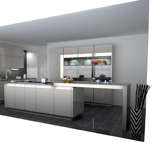 EDU-Ausstellungsküche: Grifflose Hochglanzküche mit Kochinsel