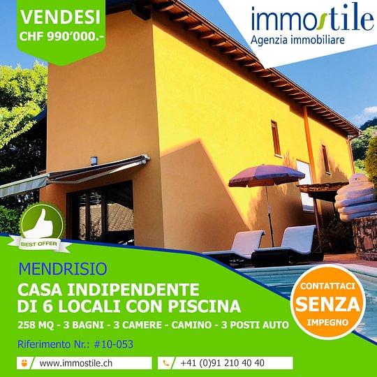Vendesi a Mendrisio casa indipendente con piscina.