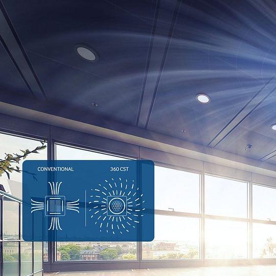 Neue Design Deckenkassette mit 360° Luftauslass.