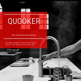 Der Quooker. Ein Wasserhahn, aus dem 100 °C kochendes Wasser sprudelt. Praktisch: Der Wasserhahn auf der Arbeitsfläche, das Reservoir im Unterschrank darunter.