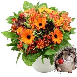 'Zoffoli' Herbststrauss mit Igel, bouquet d'automne avec herisson