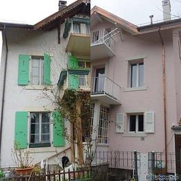 Façade avant-après rénovation avec isolation thermique par l'extérieur