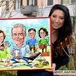 Oppulentes grosses handgemaltes Cartoongemälde ab Foto zeichnen, als exklusive Geschenkidee für ein Familienjubiläum, Geburtstag, Hochzeit
