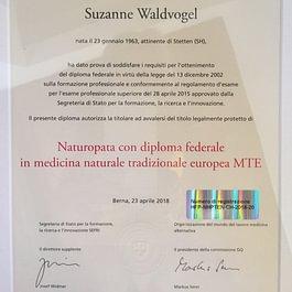 Ho conseguito con successo il Diploma Federale di Naturopata MTE ( medicina naturale tradizionale europea )nel 2018