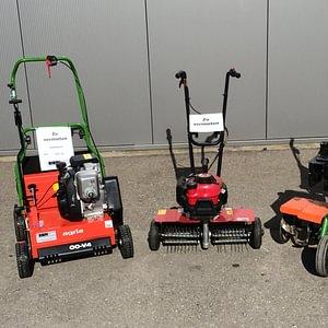 Diverse Mietmaschinen, Verikutierer, Rasenlüfter, Rasenmäher, Gartenhacke, Motorsäge