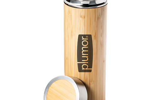 Engravable insulated bottle made of bamboo