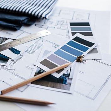 Einrichtungen / Materialien / Farbe im Raum / Pläne