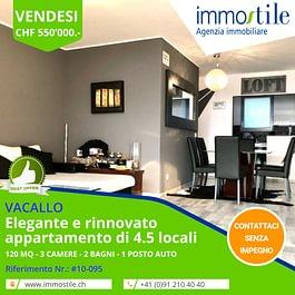 Vendesi a Vacallo rinnovato appartamento di 4.5 locali con posto auto