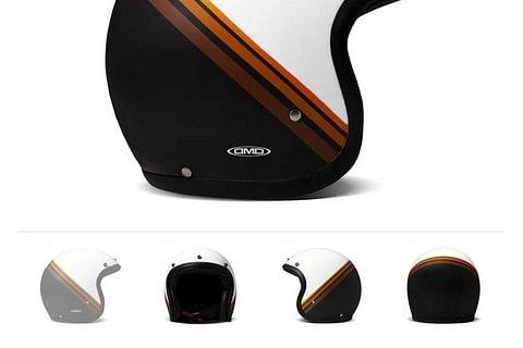DMD Helmet Coffee Break - weiss und schwarz mit braunen Mittelstreifen, glänzend