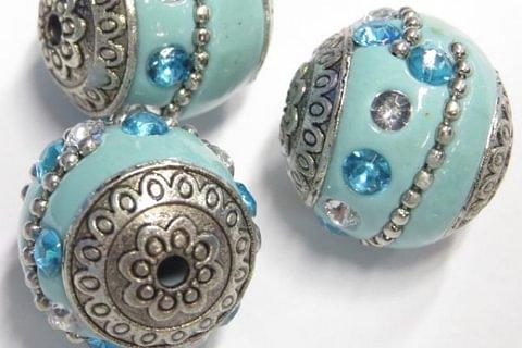 Indi Perle 18mm türkis mit Strass 1 Stück Schmuck machen Basteln mit Perlen