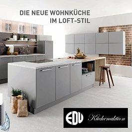 Aktionsküche B3: Die Grosszügigkeit des Loft-Konzeptes wird in der weiträumigen Planung dieser Küche konsequent umgesetzt.