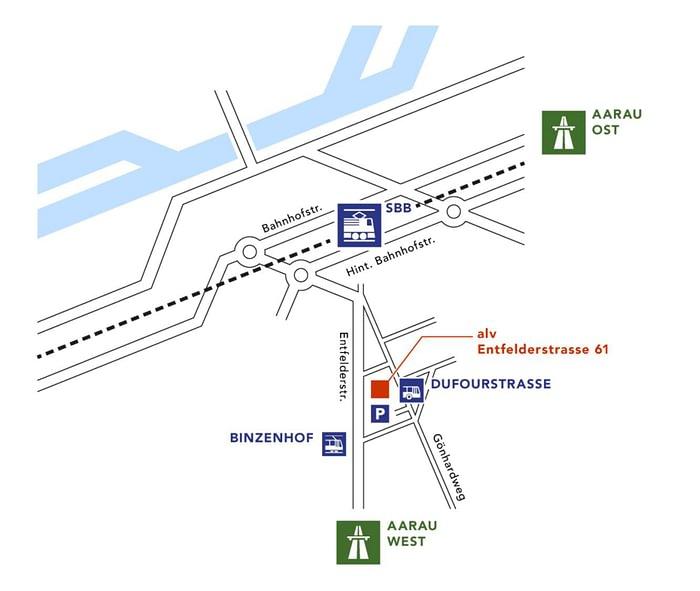 Hier finden Sie uns: zu Fuss, mit dem Bus oder mit der Bahn.