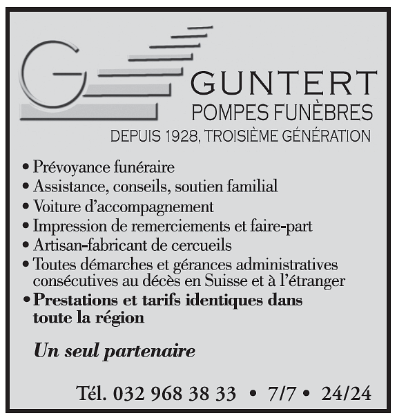 Accompagnement Guntert J.-F. pompes funèbres SA