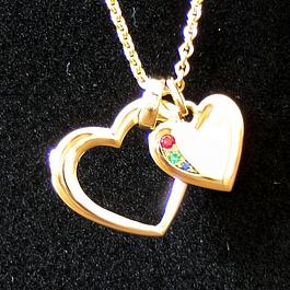 Gelbgoldanhänger mit Diamant, Rubin, Saphir und Smaragd