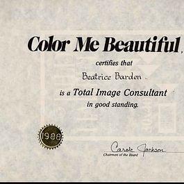 """Persönliches Zertifikat 1988 von Carole Jackson, Gründerin Color-me-Beautiful. Autorin des 20-millionenfachen Welt-Bestsellers """"Welcher Typ sind Sie? Frühlingstyp - Sommertyp - Herbsttyp - Wintertyp?"""""""