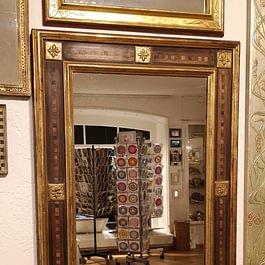 Renaissance Spiegel Orangeblattvergoldet mit eingesetztem Fournier und Verzierungen