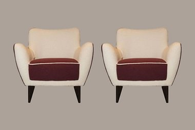 Pair of Vintage Armchairs with Matching Poufs - Veronesi, Italy, 1960s