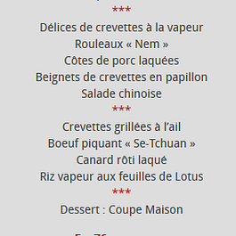 menu l'empire du dragon