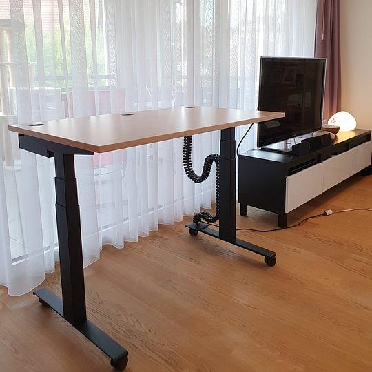 Schreibtisch.ch Classic Schwarz Kabelwanne Premium Kabelkette Rollen