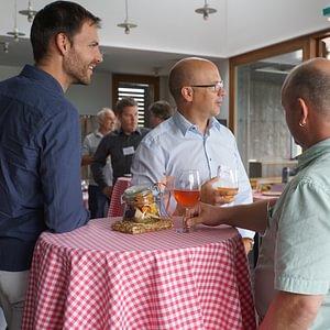 Thomas Keller (l.), Beat Rebsamen (m.) und Dani Fischer (r.) am Networking-Event