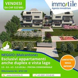 Vendesi a Neggio esclusivi appartamenti anche duplex e vista lago
