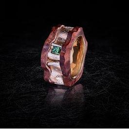 Mokume Gane Rotgold, Silber, Palladium, grüner Diamant, Mopane-Holz