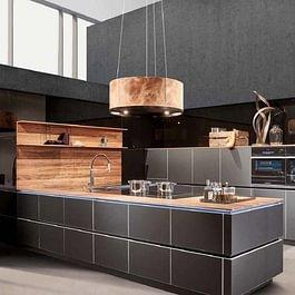 Horizon Küche Accento Vitrin Weissglas satiniert + Kirschbaum furniert