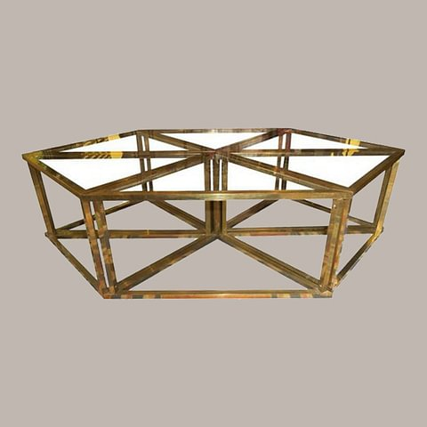 Romeo Rega Modular Table - 1970s, Brass and Crystal