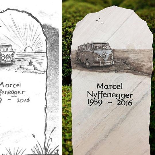 Urnengrabmal aus Palissandro (Relief nach Foto)