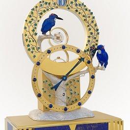Tischuhr Mysterieuse Tourbillon mit Eisvögeln