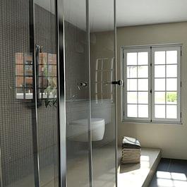 Projet 3D puis exécution des travaux de rénovation d'une salle de douche après dégât d'eau à Belmont