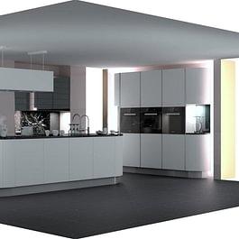 EDU-Ausstellungsküche: Weisse Mattlack Küche mit Rundelementen