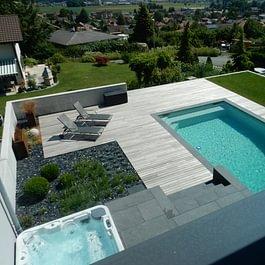 Lattion & Veillard / Paysagiste / Réalisation d'une piscine et d'un Spa aménagé